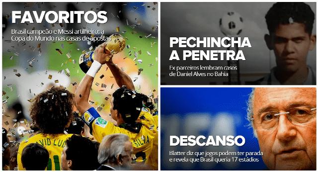 Especial de Globo Esporte en su página web