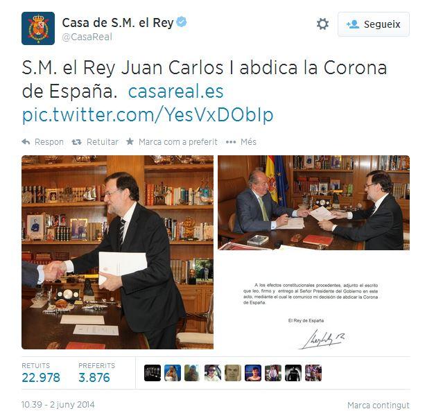El tweet de la Casa Real