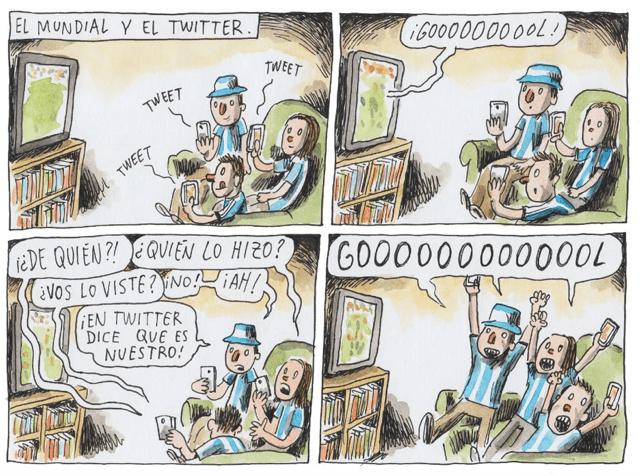 Esta tira cómica retrata el comportamiento de la  audiencia entre la primera y la segunda pantalla.