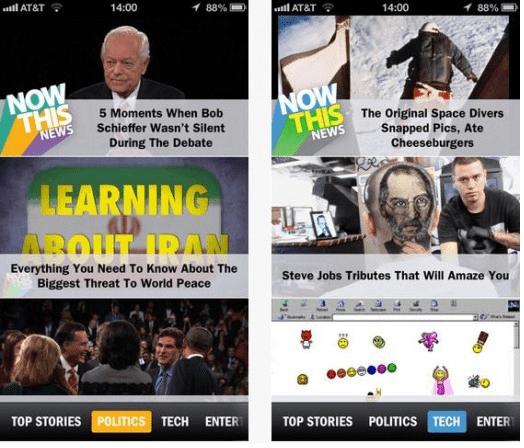 NowThisNews, aplicación de contenidos de corta duración