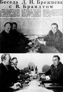 En un periódico soviético se publicó la foto de arriba sin las botellas. La original muestra la afición de Brezhnev por el alcohol.