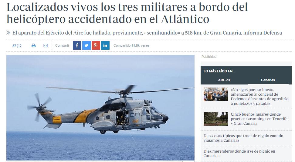 Primeras informaciones sobre el helicóptero estrellado en Canarias.