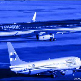 Aviones de Donald Trump y Hillary Clinton, gráfico interactivo