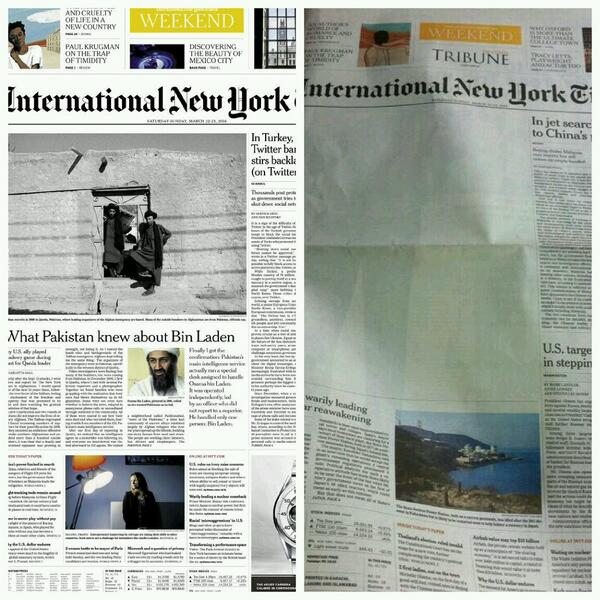 Portadas de The International New York Times