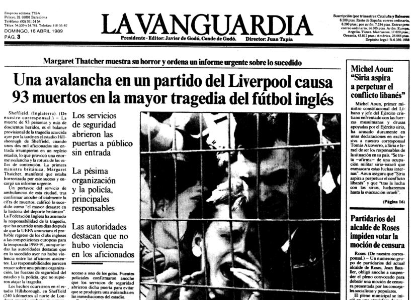 Página de La Vanguardia