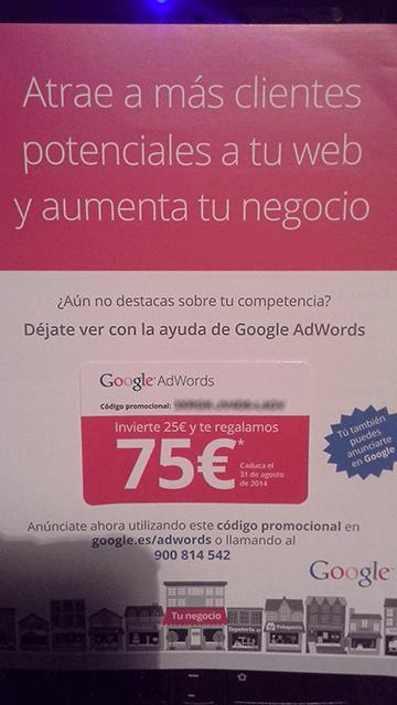 Publicidad de Google AdWords que aparece en un suplemento de periódico español