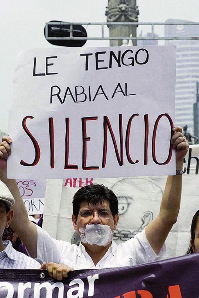 Albarrán en una reciente protesta contra las agresiones a periodistas mexicanos
