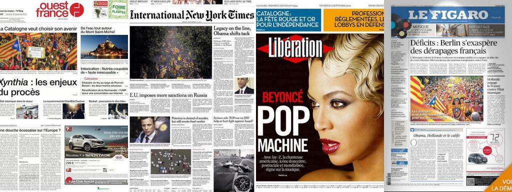 Diada internacional en la prensa de medio mundo