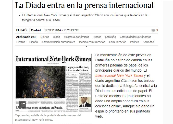 Noticia de El País sobre la Diada