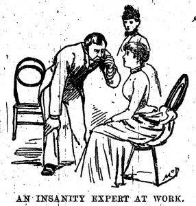 Dibujo que ilustró los artículos de Nellie Bly sobre el psiquiátrico