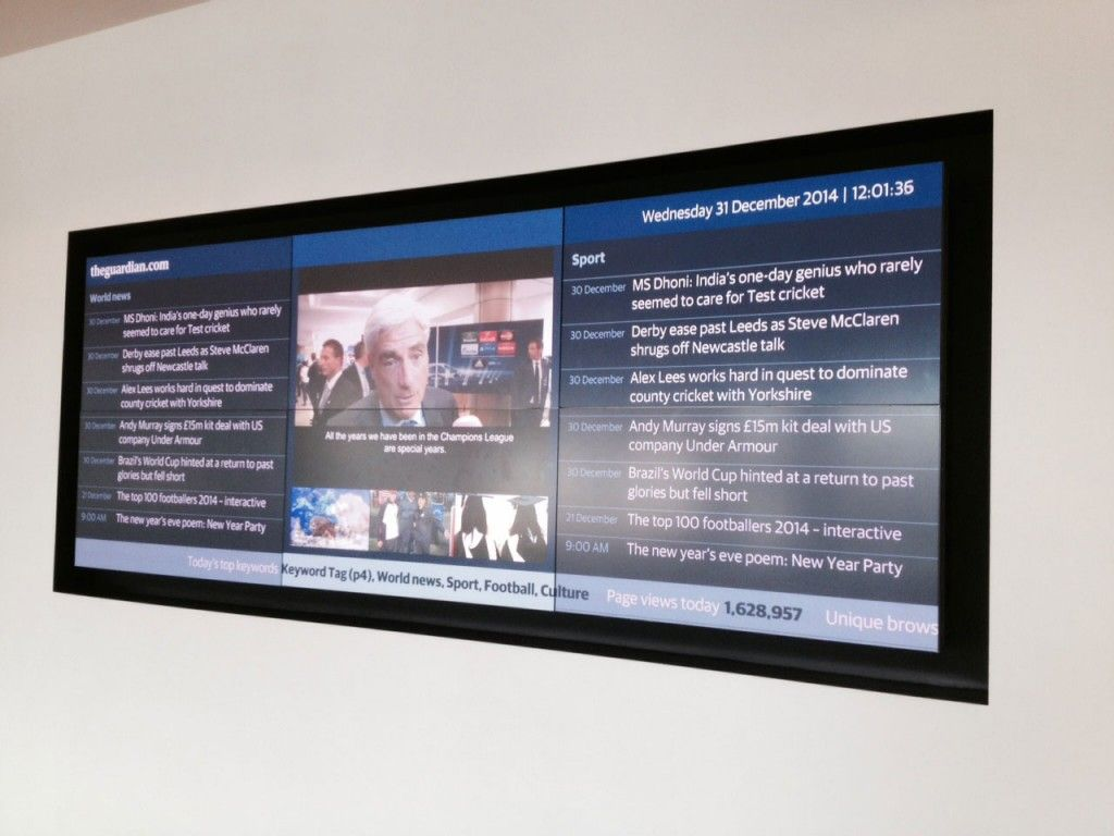 Pantalla en la recepción de The Guardian