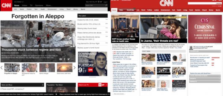 El rediseño de la CNN, a la izquierda de la imagen