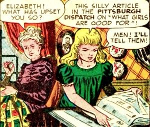 Comic de Nellie Bly ilustrando el momento en el que lee el artículo que encuentra ofensivo del