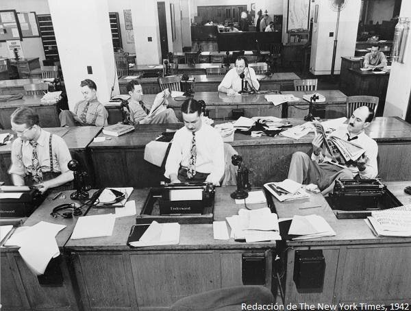 Redacción del NY Times a principios de los años cuarenta