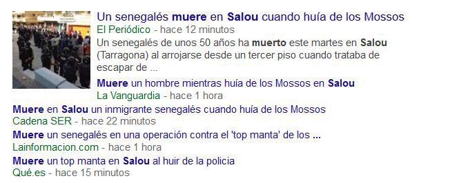 Búsquedas en Google tras la muerte del ciudadano senegalés en Salou