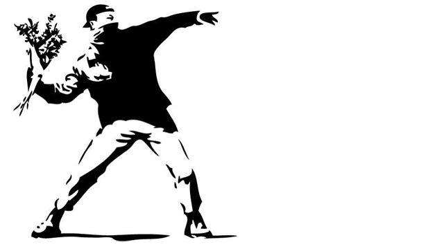 Representación de un coctel molotov pacífico según Banksy