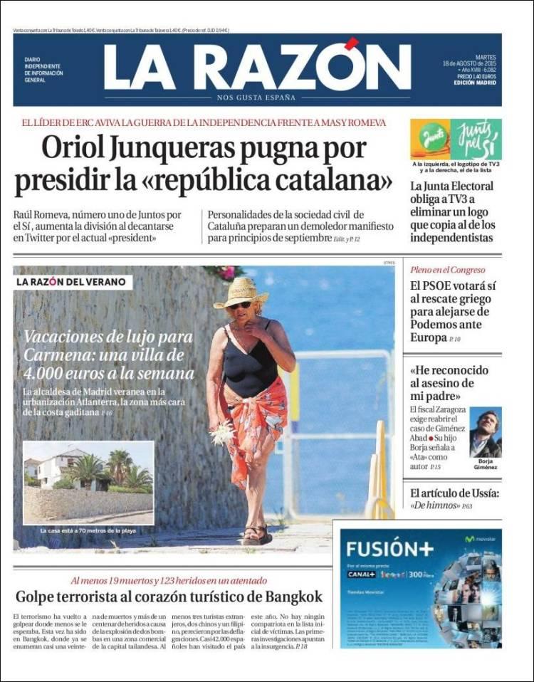 La portada de La Razón sobre las supuestas vacaciones millonarias de Carmena