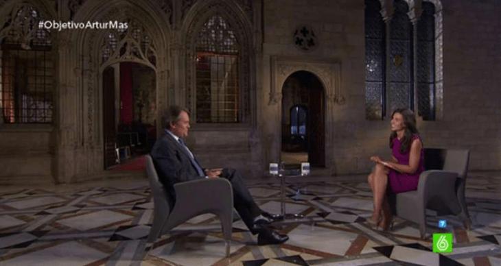 Objetivo Artur Mas, fotógrama de la entrevista de Ana Pastor a Mas