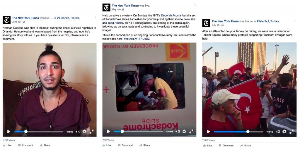Facebook Live en New York Times