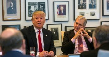 Donald J. Trump on Tuesday with Arthur Sulzberger Jr., the publisher of The New York Times