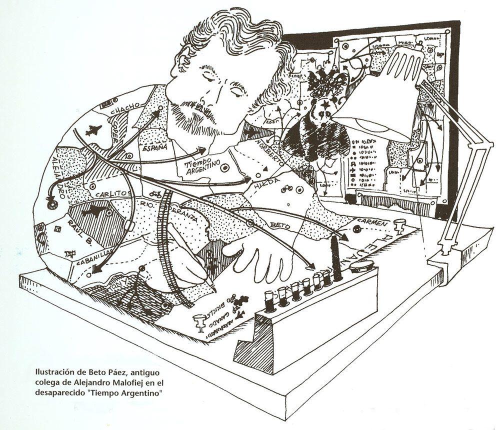 Ilustración de Beto Páez, antiguo colega de Alejandro Malofiej, en el desaparecido 'Tiempo Argentino'